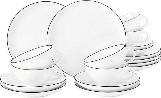 Seltmann Weiden Teeservice »Lido« (18-tlg), Porzellan, mit Linien-Dekor, 210 ml