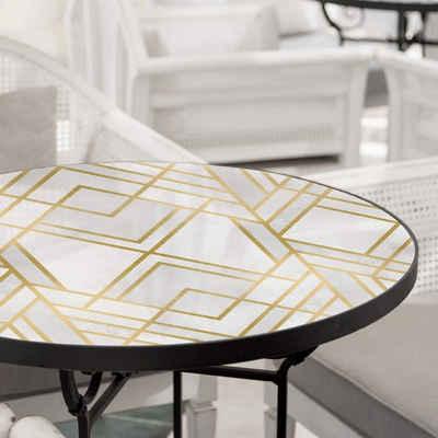 K&L Wall Art Arbeitsplatte »Glas Tischplatte Fredriksson Art-Deco Glastisch Gold Geometrie Glasplatte Rund«