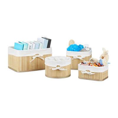 relaxdays Aufbewahrungskorb »Aufbewahrungskörbe 4er Set Bambus«