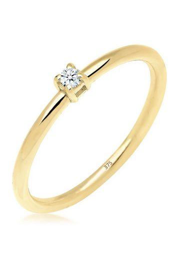 Elli Premium Diamantring »Verlobungsring Diamant 0.03 ct. 375 Gelbgold«, Verlobungsring