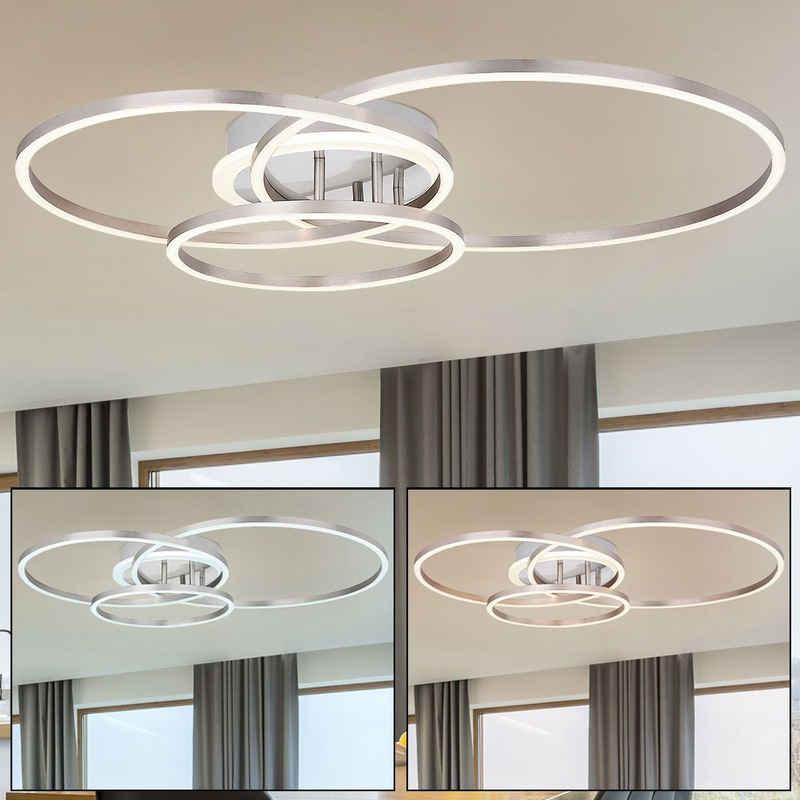 etc-shop Deckenleuchte, LED Decken Leuchte Design Tageslicht Strahler opal weiß Schlaf Zimmer Beleuchtung ALU Lampe Ringe