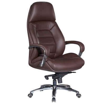 FINEBUY Chefsessel »FB26236«, Bezug Echtleder Braun Schreibtischstuhl bis 120 kg, XXL Design Chefsessel höhenverstellbar, Drehstuhl ergonomisch mit Armlehnen & hoher Rückenlehne, Wippfunktion