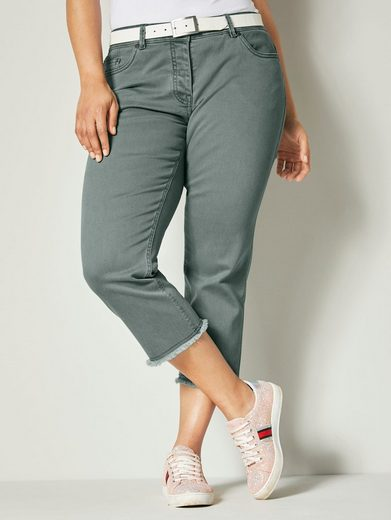 Angel of Style by HAPPYsize 7/8-Jeans mit ausgefranstem Saum