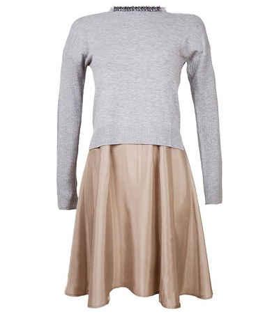 TUZZI Minikleid »TUZZI 2 in 1 Pullover-Kleid stilbewusstes Damen Mini-Kleid mit Perlen besetztem Kragen Sommer-Kleid Grau«