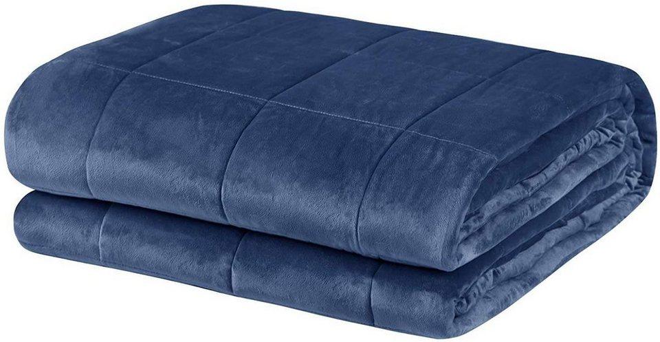 Bett, Woltu, Gewichtete Decke 150 x 200 cm, 9 kg, Blau