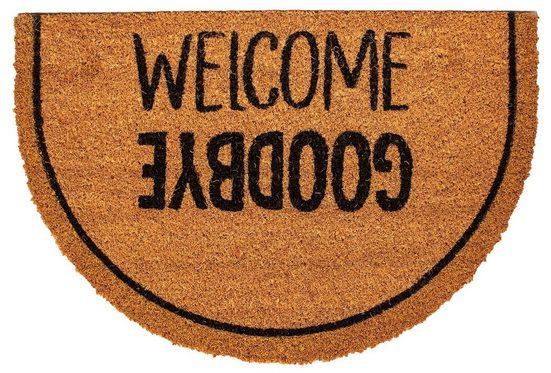 Fußmatte »HR gold welcome goodbye 40x60 cm«, Mr. Ghorbani, Halbrund, Höhe 14 mm