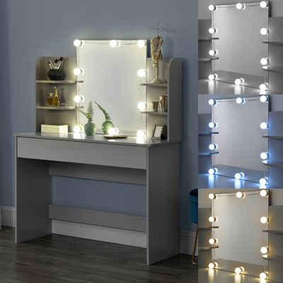 en.casa Schminktisch, »Eda« Frisierkommode mit Schublade Spiegel und LED Beleuchtung 139,5x108x40cm hellgrau