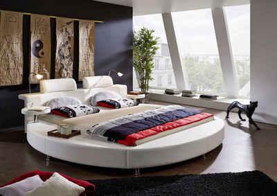 SAM® Rundbett »Classico«, Rundbett Doppelbett 180 x 200 cm 2 Leselampen Weiß Classico