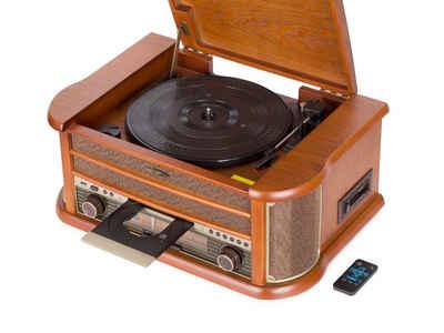 Reflexion »HIF2002« Radioplattenspieler (Riemenantrieb, Echtholz-Gehäuse, Nostalgie-Design, CD-Player, Plattenspieler, Kassettendeck, Stereo-Radio, Encoding-Funktion)