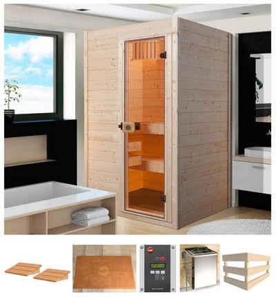 weka Sauna »Sara 2«, BxTxH: 244 x 194 x 199 cm, 68 mm, 9 kW Bio-Ofen mit ext. Steuerung
