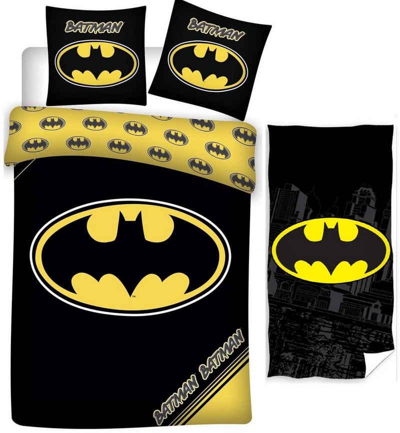 Kinderbettwäsche »Batman - Kinder-Bettwäsche-Set, 135x200 cm und Handtuch, 70x140 cm«, Batman, 100% Baumwolle