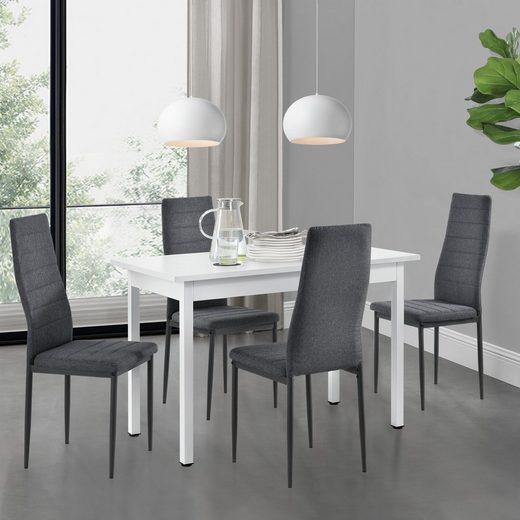 en.casa essgruppe, (set, 5-tlg., esstisch mit 4 stühlen