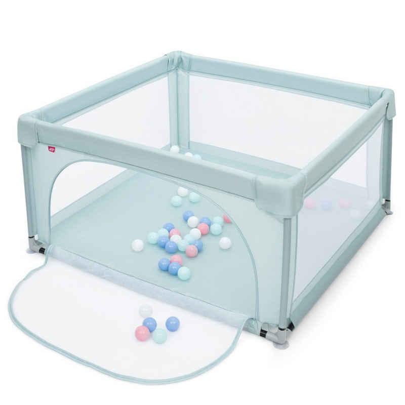 COSTWAY Laufstall »Laufgitter«, mit 50 Spielbällen und Tür, für Säuglinge und Kleinkinder, 120 x 120cm