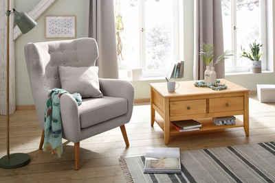 Home affaire Ohrensessel »Yamuna«, mit toller Sitzpolsterung, Gestell und Füße aus Massivholz, Sitzhöhe 47 cm