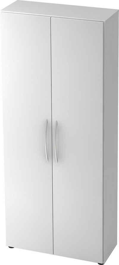 bümö Aktenschrank »OM-4100« Büroschrank, Flügeltürenschrank für Ordner, Akten & Bücher mit 5 Ordnerhöhen - Dekor: Weiß/Weiß