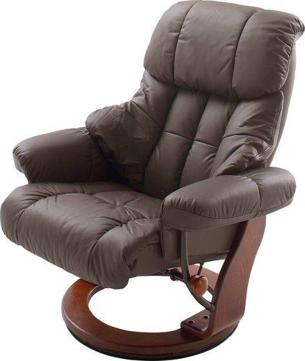 MCA furniture Relaxsessel »Calgary«, Fernsehsessel 360°drehbar inkl. Hocker mit Lederbezug