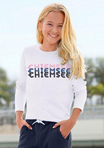 Chiemsee Langarmshirt mit dreifarbigem Logodruck