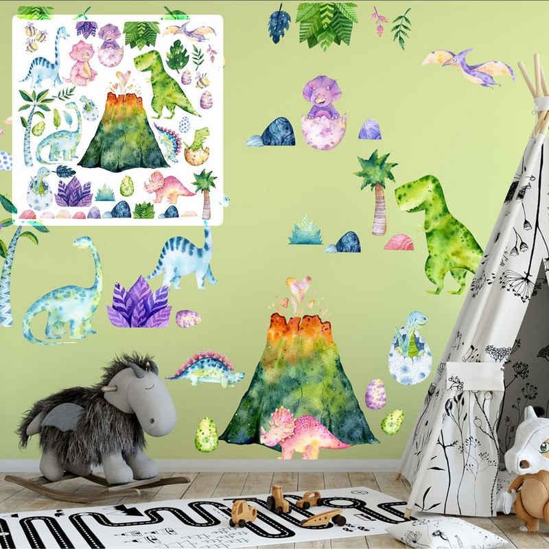 Sunnywall Wandtattoo »XXL Dino Kids Vulkan Wandtattoo Set verschiedene Motive, Kinderzimmer Aufkleber bunt Wanddeko«