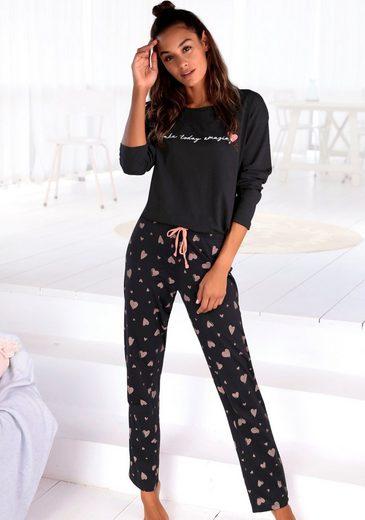 Vivance Dreams Pyjama mit Herzmuster