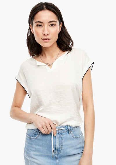 s.Oliver Kurzarmshirt »Materialmix-Shirt mit Satin-Front« (1-tlg)