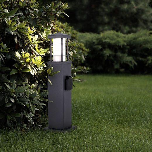 etc-shop LED Außen-Stehlampe, Außen Steh Leuchte 2x Garten Steckdose Edelstahl Hof Beleuchtung Stand Lampe anthrazit im Set inkl. LED Leuchtmittel
