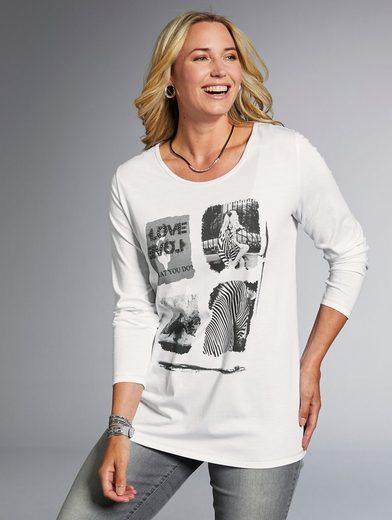 MIAMODA Shirt mit verschiedenen Motiven und Dekosteinen im Vorderteil