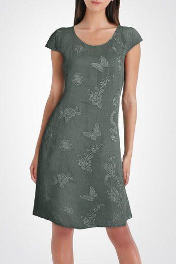 PEKIVESSA Sommerkleid »Leinenkleid Damen Sommer knielang« mit eleganten Stickereien