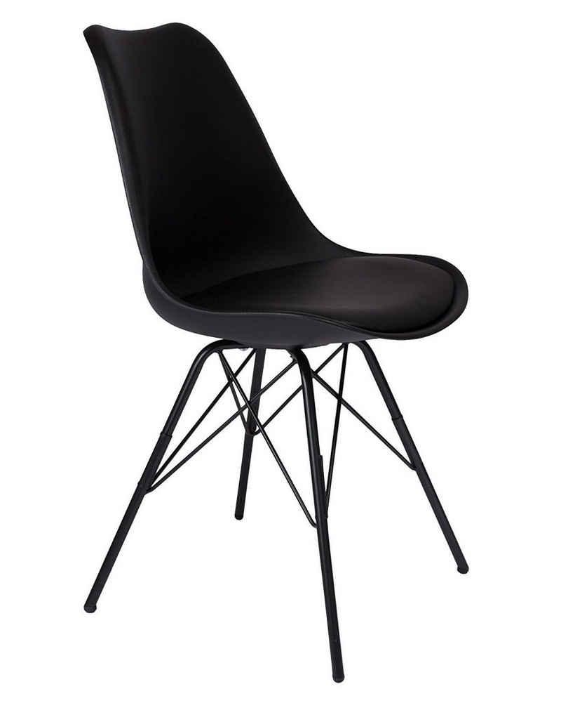 SAM® Schalenstuhl »Luis«, mit integriertem Sitzkissen in Lederoptik in schwarz