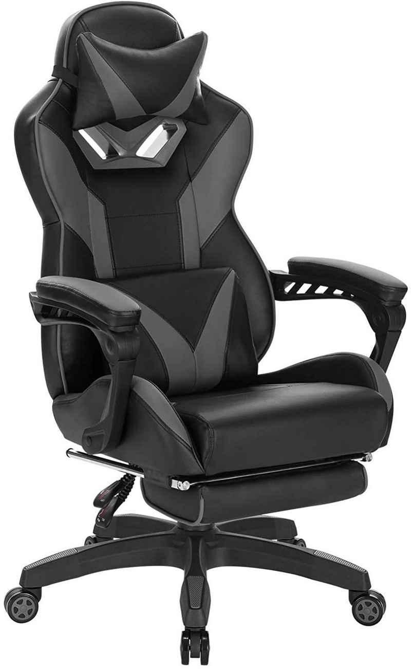 Woltu Gaming-Stuhl »Z-OFC96« (1 Stück), Racing Stuhl Bürostuhl Ergonomischer Stuhl mit Kopfstütze Lendenstütze, Höhenverstellbar, Einstellbarer Neigungswinkel, Grau
