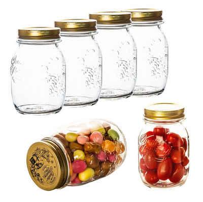 Bormioli Rocco Einmachglas »6x 0,5 Liter Quattro Stagioni Gläser − 14x8,5 cm − Zum Einwecken und Verwahren von Lebensmittel − Hochwertige Qualität aus Italien − Mit Schraubverschluss«, Glas, (6-tlg)