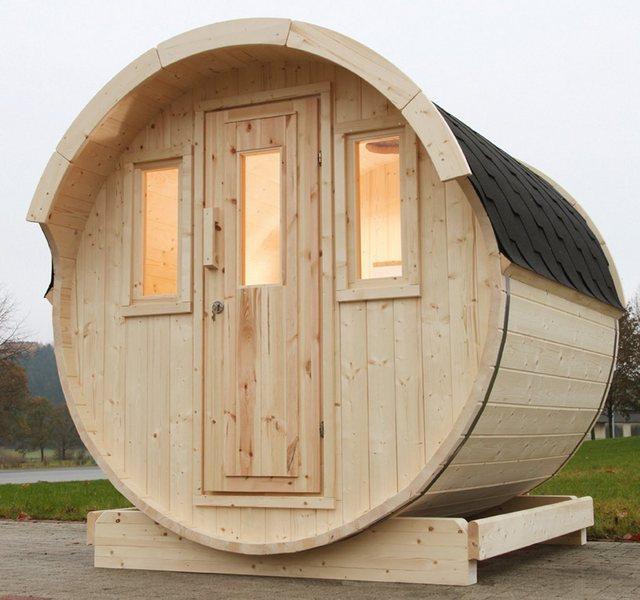 Saunen und Zubehör - WOLFF FINNHAUS Fasssauna »220«, 205 220 210 cm, schwarze Schindeln, ohne Ofen  - Onlineshop OTTO