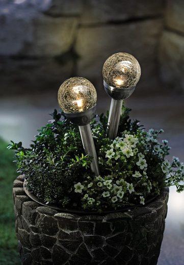 "HomeLiving LED Dekolicht »Solar-LED ""Kristall"" auf Stab, 2er Set Abendbeleuchtung strahlende Lichteffekte«"