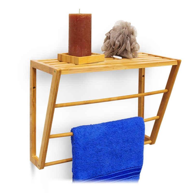 relaxdays Handtuchregal »Wandhandtuchhalter Bambus mit Ablage«