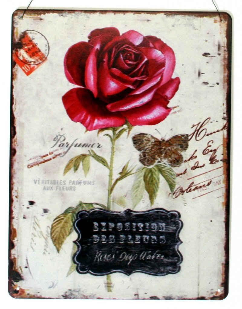Moritz Metallschild »Blechschild rote Rose Exposition des Fleurs«, 25 x 33cm Vintage Retro Deko Schild Metallschild Wandbild Wanddeko Schild Deko Spruch