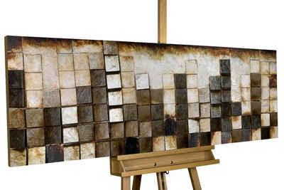 KUNSTLOFT Holzbild »Goldglanz im Zentrum«, handgefertiges Wandbild aus Holz