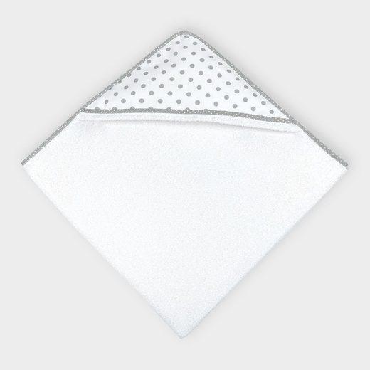 KraftKids Kapuzenhandtuch »graue Punkte auf Weiss«, 100% Baumwolle, extra dickes und weiches Frottee, eingefasst mit Schrägband