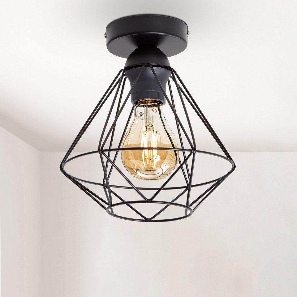 B.K.Licht Deckenleuchte, LED Deckenlampe schwarz Metall Draht Vintage Industrielampe ...