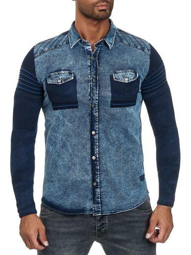 Schlussverkauf Egomaxx Hemd »2890« Herren Jeanshemd mit Strickärmeln