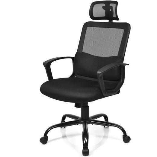 COSTWAY Relaxsessel »Kippbarer Bürostuhl Computerstuhl Relaxstuhl«, mit Lendenwirbelstütze und Verstellbarer Kopfstütze, Höhenverstellbarer mit Schaukelfunktion, rollbar, bis 120kg belastbar