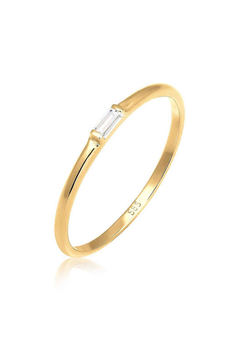 Elli Verlobungsring »Stabelring Topas Rechteck Verlobung 585 Gelbgold«