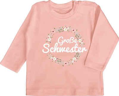Shirtracer T-Shirt »Große Schwester Blumenkranz - Geschwister Bruder und Schwester - Baby T-Shirt langarm« Outfit Geschenk Kleidung Strampler Babykleidung