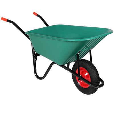 Gardebruk Schubkarre, 100 Liter Bauschubkarre Gartenschubkarre bis 150kg Belastbarkeit Luftreifen stabile Ausführung mit Kunstoffwanne