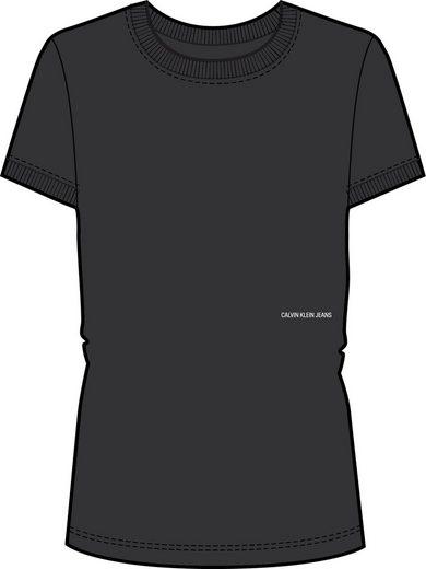 Calvin Klein Jeans Rundhalsshirt »MICRO BRANDING OFF PLACED TEE« mit Calvin Klein Micro Logo-Schriftzug in Taillenhöhe