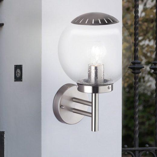 WOFI LED Gartenstrahler, Außen Wand Lampe silber Edelstahl Garten Beleuchtung Terrassen Glas Kugel Leuchte WOFI 4033.01.97.7000