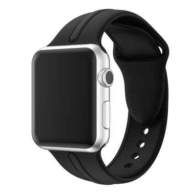CoverKingz Uhrenarmband »Sportarmband für Apple Watch Series 6/SE/5/4/3/2/1 Armband 38mm/40mm Silikon Band Schwarz«