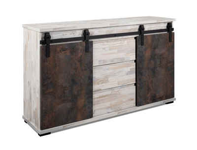 expendio Sideboard »Salvo 01B«, Aratinga Kiefer / Na Pali 140x87x40 cm mit Schiebetüren