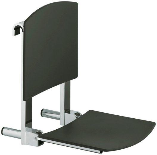Keuco Duschklappsitz Plan Care, belastbar bis 110 kg, schwarz, Rückenlehne ist abnehmbar
