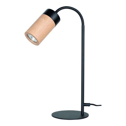 BRITOP LIGHTING Tischleuchte »ANNICK«, Flexibeler Arm, LED-Leuchtmittel inkl., aus edlem Eichenholz und Metall, Made in Europe