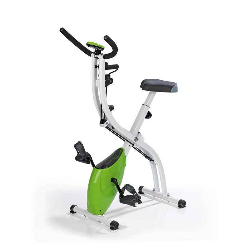 VITALmaxx Heimtrainer »Fitness Bike - 8 verschiedenen Schwierigkeitsstufen - weiß/limegreen«, Fitness Bike 8 Schwierigkeitsstufen weiß/limegreen