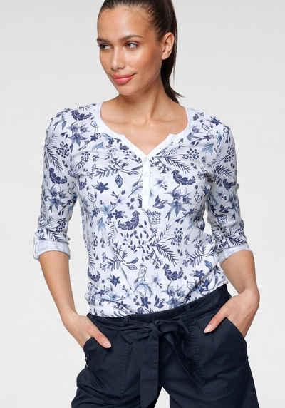 KangaROOS Shirtbluse mit Turn-up Ärmeln und blumigem Allover-Druck - NEUE KOLLEKTION
